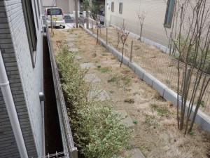 アプローチ現況 芝生と植栽