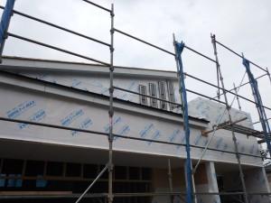 外壁下地 透湿防水防風シート施工中 外観 (2)