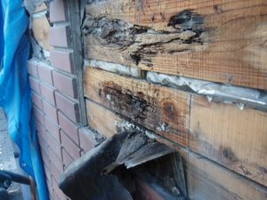 外壁下地の雨水侵入による腐食状況