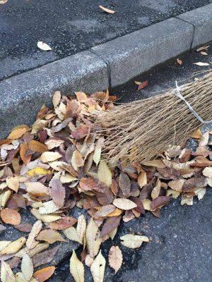 落ち葉と竹ぼうき
