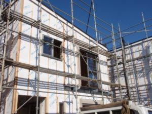 賃貸 アパート 集合住宅 新築 リフォーム 防水紙 透湿防水シート施工 縦胴縁 通気層